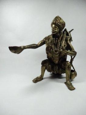 African Bronze Sculpture, Beggar, Made In Ivory Coast,