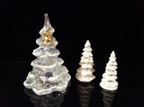 3 Pc Christmas Tree Figurines, Includes 1 Crystal And 2