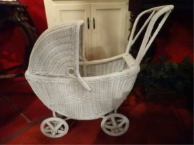 Vintage White Wicker Baby Carriage, Approx 2.5'w,