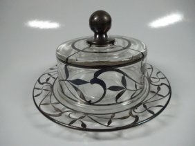 """Silver Overlay Covered Round Butter Dish, Approx 4 1/4"""""""