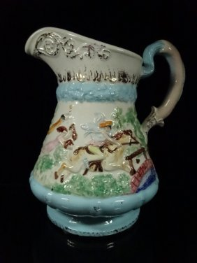 Capodimonte Style Pitcher, Signed Ruth On Base, Approx