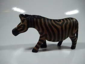 """Carved Painted Wood Zebra Sculpture, Approx 5.75""""l"""