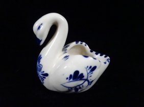 "Delft Blue & White Swan Ring Bowl, Approx 2.5""h,"