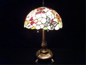 Tiffany Style Stained Leaded Glass Lamp, Dome Shade