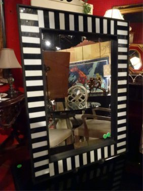 White And Black Frame Mirror, Wood And Laminate,