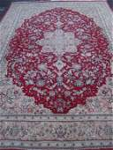 LARGE PERSIAN STYLE WOOL RUG, RED AND GOLD, VERY GOOD
