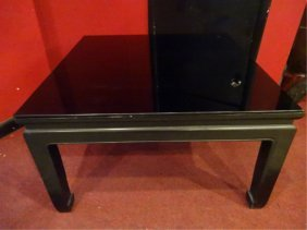 Midcentury Asian Inspired Coffee Table With Black Glass
