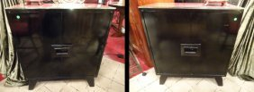 Pair Mid Century Modern Chests, Asian Style With Black