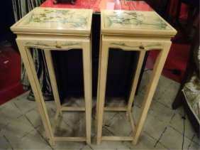 Pair Chinese Style Pedestals, Ivory/pale Yellow With