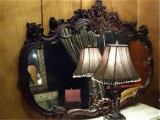 LARGE ROCOCO STYLE WOOD MIRROR APPROX 45 X 3 VERY