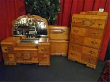 3 PC ART DECO WATERFALL BEDROOM SET, INCLUDES VANITY