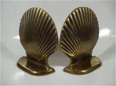PAIR OF SHELL FORM BRASS BOOKENDS APPROX 5 X 4 78