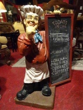 Large Waiter Sculpture, Holding Menu Chalkboard,