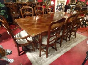 French Style Dining Table With 8 Chairs, 2 Leaves,
