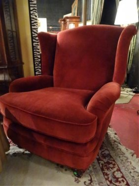 Red Venetian Velvet Wing Chair, Excellent Gently Used