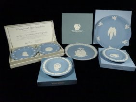 5 Pc Wedgwood Blue Jasperware, Includes 2 Pc