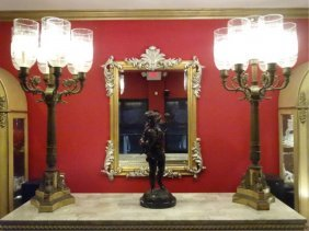 Pair Monumental Bronze And Marble Candelabra Lamps,