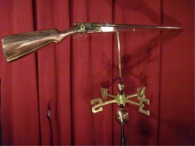 """Large Copper And Brass Shotgun Weathervane, Approx 45"""""""