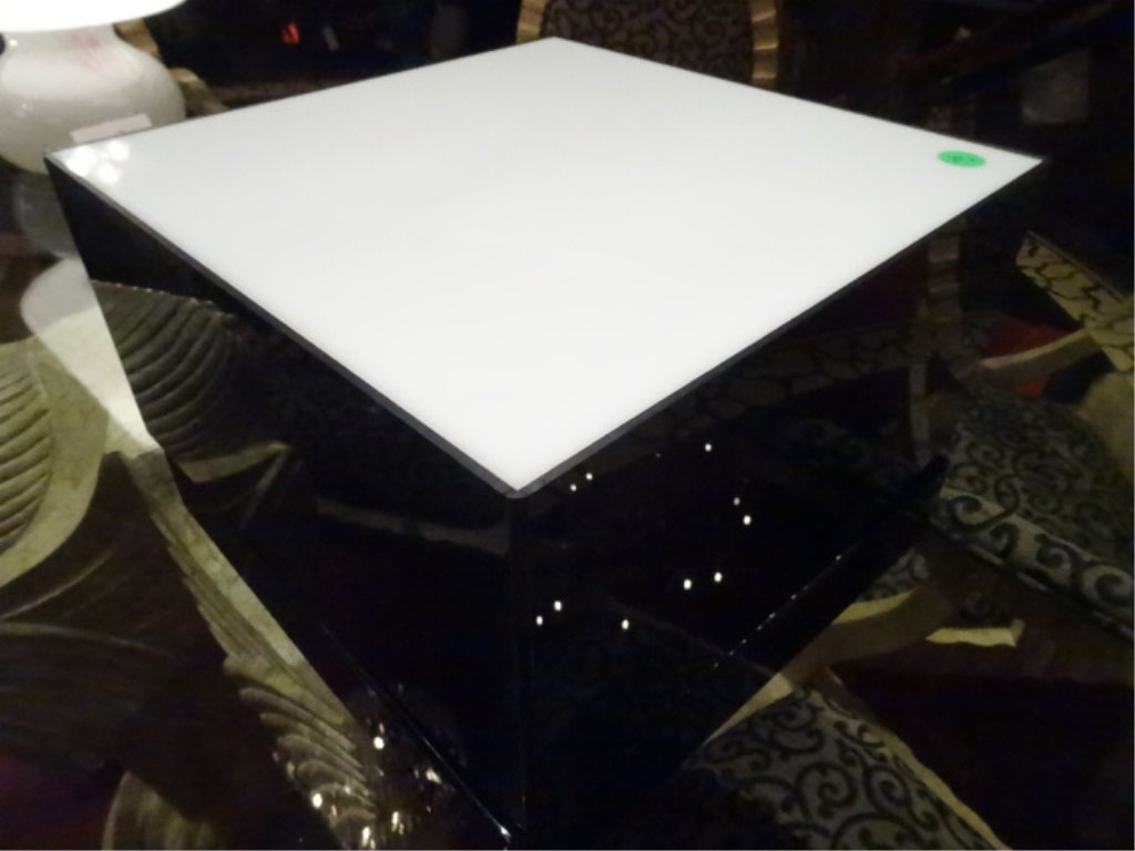 LIGHTED SWIVEL TABLE TOP PEDESTAL, BLACK ACRYLIC WITH
