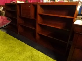 3 Wood Bookcases, Dark Finish, One With Dropfront
