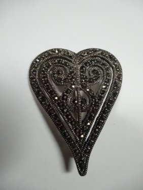 Heart Shaped Marcasite & Sterling Silver Pin, Marked