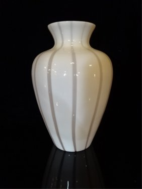 Italian Murano Art Glass Vase, Pale Pink And White With