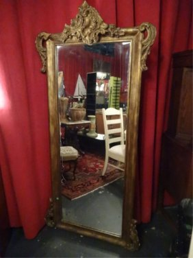 Large Rococo Gilt Wood Mirror, Very Good Vintage
