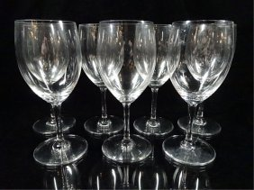 "7 Pc Baccarat Crystal Wine Glasses, Approx 6""h, With"