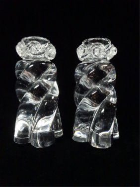 Pair Baccarat Crystal Aladdin Candlesticks, Twist