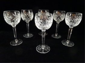 "Set Of 6 Waterford Crystal ""avoca"" Wine Glasses, Etched"