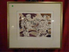 Lazzaro Donati (italian,1926-1977) Signed Lithograph,