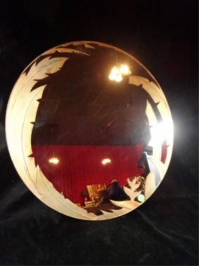 Round Mirror, Tropical Etched & Gilded Design, Approx