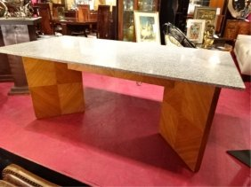 Modern Granite Top Table With V Shape Base, Very Good