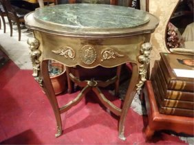 Louis Xv Style Marble Top Table, Gilt Metal Mounts,