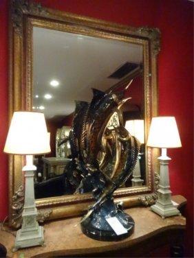 Pair Neoclassical Metal Column Lamps, Vertigris Finish,