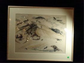 Watercolor Painting On Paper, Mountain Scene, Signed