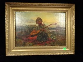 Antique Painting On Canvas, Seated Musician, From The
