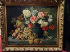 LARGE OIL ON CANVAS PAINTING FLORAL STILL LIFE SIGNED