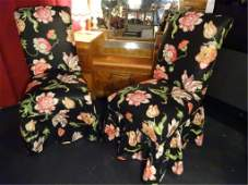 PAIR DOROTHY DRAPER STYLE SKIRTED CHAIRS FLORAL PRINT