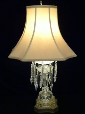 Mid Century Crystal And Brass Lamp With Crystal Drops,