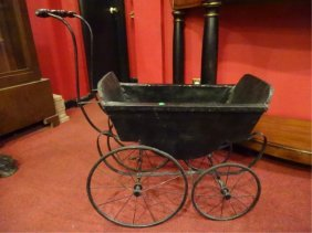 Antique Baby Carriage, Metal And Leather, With Leather