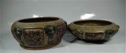 2 PC ROSEVILLE POTTERY FLORENTINE BOWLS APPROX 375 X