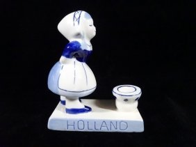 Hand Painted Delft Blue Candle Holder, Little Dutch