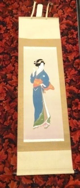 Chinese Painting Scroll, Figure Of A Woman, Approx