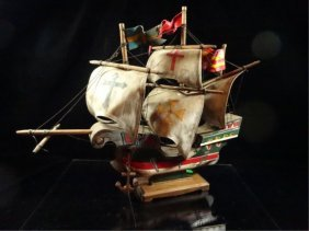 "Wooden Ship Model, Approx 13""h"