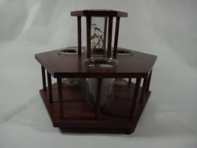 """Wooden Stand With 4 Glass Beakers, Approx 6.75""""h"""