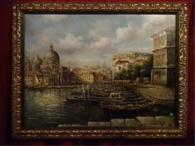 Large Painting On Canvas, Venice Grand Canal Scene,
