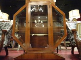 1930's Octagonal Display Cabinet, Single Door, Silvered