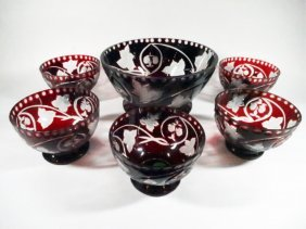 6 Pc Ruby Cut Clear Crystal Berry Bowls, 1 Large Bowl