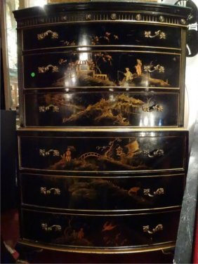 Union National Chinoiserie Tall Chest, Raised Painted